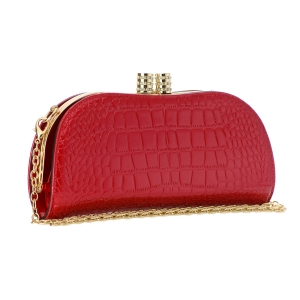 Animal Skin Patent Leather Clutch Bag 35404 - Red