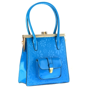 Patent Leather Floral Design Shoulder Bag 35414 - Blue