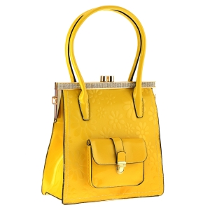 Patent Leather Floral Design Shoulder Bag 35414 - Yellow