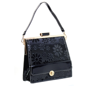 Patent Leather Floral Design Shoulder Bag 35420 - Black