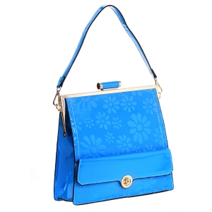 Patent Leather Floral Design Shoulder Bag 35420 - Blue
