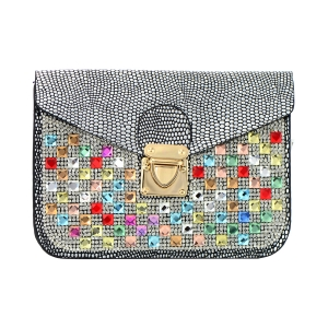 Rhinestone Clutch Bag 35453 - Black