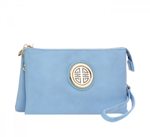Metallic Faux Leather Clutch Purse K020L 35487 - Light Blue