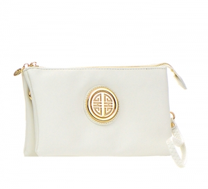 Metallic Faux Leather Clutch Purse K020L 35487 - White