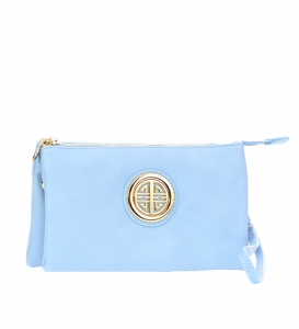 Metallic Faux Leather Clutch Purse K020L 35487 - Aquamarine