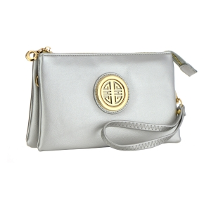 Metallic Faux Leather Clutch Purse 35487 - Silver