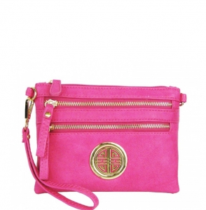 Faux Leather Zipper Clutch Bag WU001L 35490 Fucshia