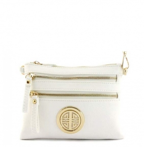 Faux Leather Zipper Clutch Bag WU001L 35490 White