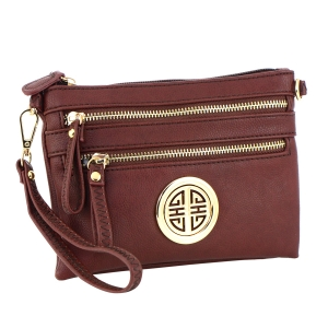 Faux Leather Zipper Clutch Bag 35490 - Brown