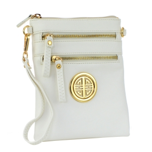 Faux Leather Zipper Clutch Bag 35494 - White