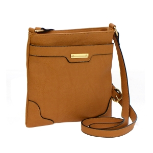 Faux Leather Crossbody Bag 35524 - Tan
