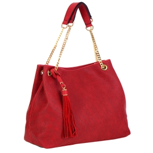 Laser Cut Faux Leather Handbag 35539 - Red