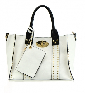 Faux Leather Handbag OOE60345 35558 - White