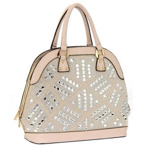 Faux Leather Rhinestone Mirror Bag 35564 - Taupe