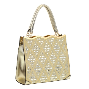 Faux Leather Rhinestone Mirror Tote Bag 35568 - Champagne