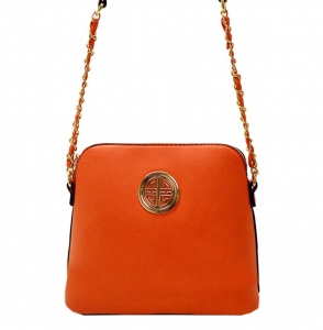 Faux Leather Crossbody Bag K025 35584 -Coral