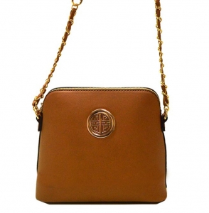 Faux Leather Crossbody Bag K025 35584 Tan