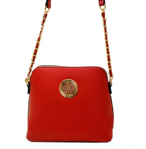 Faux Leather Crossbody Bag K025 35584 Watermelon
