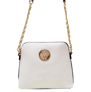Faux Leather Crossbody Bag K025 35584 -White