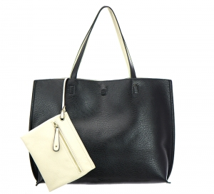 Reversible Soft Faux Leather Tote Bag BGW2079 35594 Black/Bone