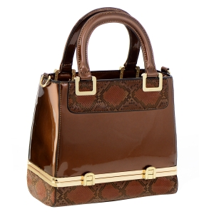Snake Skin Print Patent Leather Tote Bag 35624 - Brown