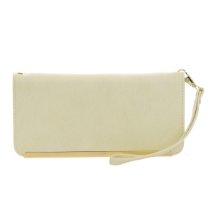 Faux Leather Gold Accent Wallet 35639 - Beige