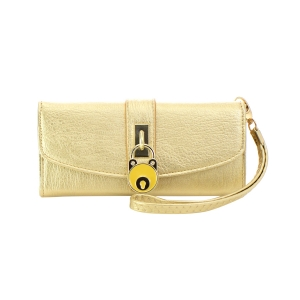 Faux Leather Lock Accent Wallet 35707 - Gold