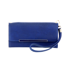 Faux Leather Wallet 35721 - Navy Blue