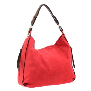 Faux Leather Hobo Bag 35731 - Red