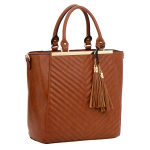Faux Leather Tote Bag 35761 - Tan