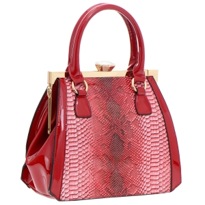 Animal Print Patent Leather Handbag 35770 - Red