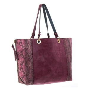 Faux Leather Animal Skin Reversible Tote Bag 35773 - Red