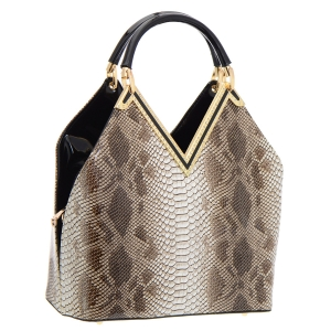 Animal Print Patent Leather Handbag 35777 - Brown