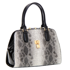 Animal Print Patent Leather Handbag 35779 - Black