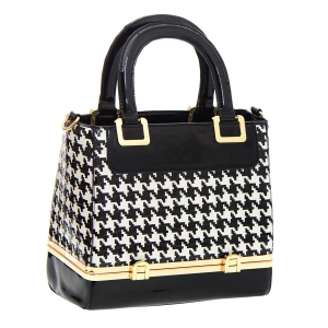Black and White Pattern Print Patent Leather Handbag 35780