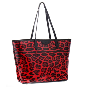 David Jones Animal Print Patent Tote Bag 35784 - Red