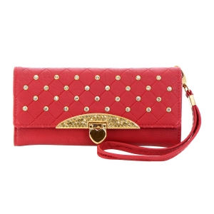 Faux Leather Wallet with Rhinestones 35792 - Red