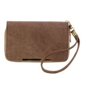 Faux Leather Wallet 35796 - Taupe
