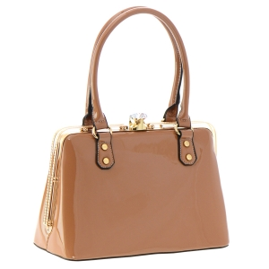 Patent Leather Handbag 35800 - Clay
