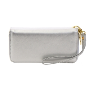 Faux Leather Double Compartment Wallet 35818 - Silver