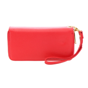 Faux Leather Double Compartment Wallet 35823 - Red