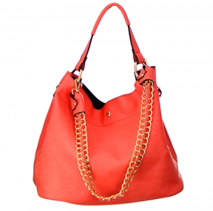 Faux Leather Hobo Bag H1050S 35828 - Coral