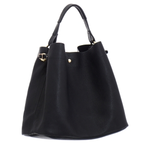 Faux Leather Hobo Bag 35828 - Black