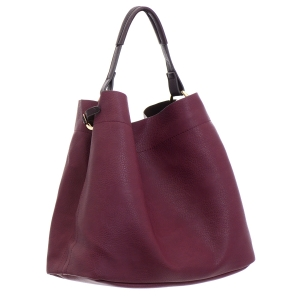 Faux Leather Hobo Bag 35828 - Burgundy