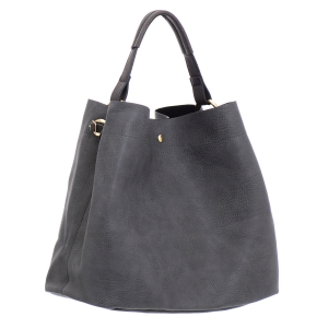 Faux Leather Hobo Bag 35828 - Gray