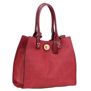Faux Leather Tote Bag 35833 - Red