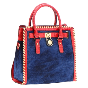 Denim and Animal Skin Faux Leather Handbag 35836 - Red