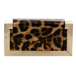 Animal Print Patent Leather Clutch Purse 35859 - Brown