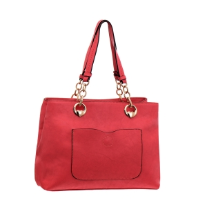 Faux Leather Handbag 35886 - Red