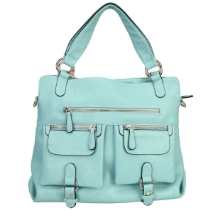 Faux Leather Handbag with Front Pockets 35898 - Green